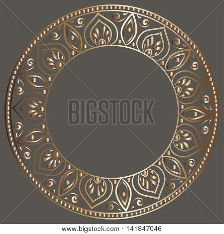 drawing of a round gold gradient frame  with floral ornament on a dark gray background