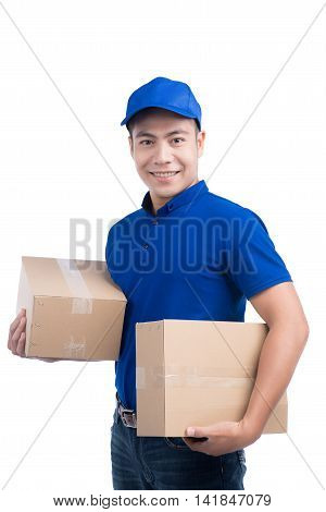 Delivery Person. Asian postman with parcel box. Postal delivery service. White Background.