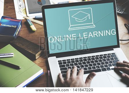 Online Education Graduation Cap Graphics Concept