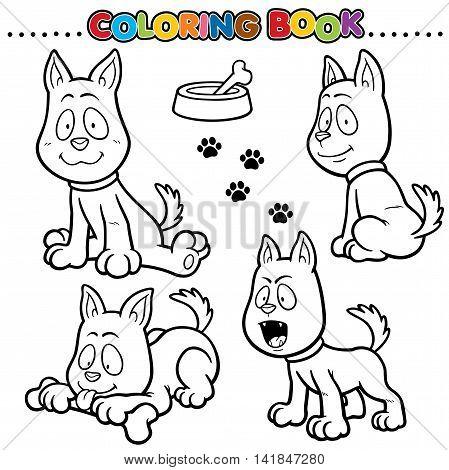 Vector Cartoon Animals Coloring Book - Dog