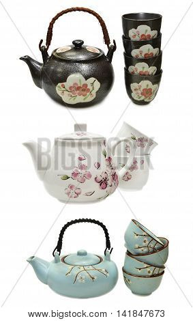 Design set with japanese kitchen objects (tea pots and cups), isolated on white