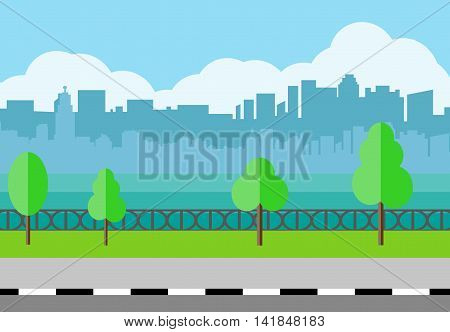 Modern City View. City promenade, Cityscape with office and residental buildings, trees, river, blue background with clouds. vector illustration in flat style