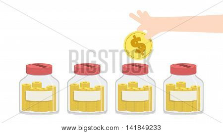 Blank Saving Money With Jar To Spend For Something Like Home Repairs, Car Payment, Education, Expens