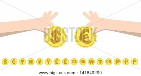 Dollar Exchange Euro And Coins For Currency Exchange Rates Illustration Vector. Finance Concept.