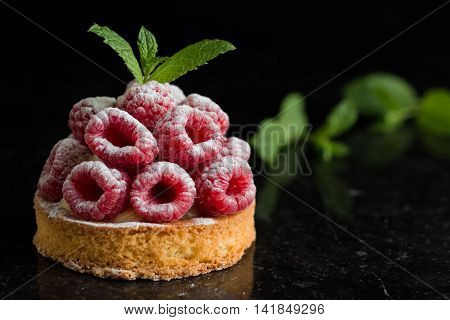 Raspberry Tart Dessert On Dark Background. Traditional French Sweet Pastry. Delicious, Appetizing, H