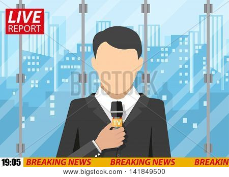 News reporter men with microphone in office building. cityscape background. breaking news. television. press. vector illustration in flat style