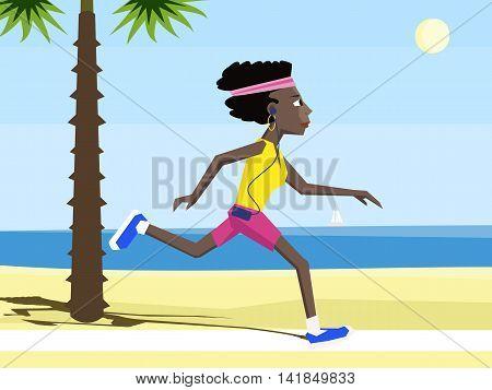 black woman running at sea shore - colorful cartoon vector illustration