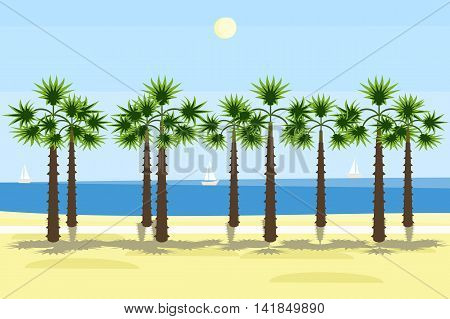 south sea shore with palms background - colorful vector illustration
