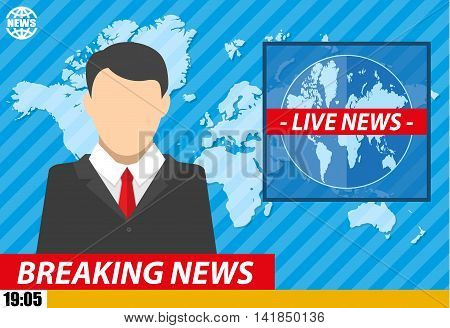 Silhouette of a man in television studio with world map. News announcer in the studio. breaking news. Vector illustration. vector illustration in flat style
