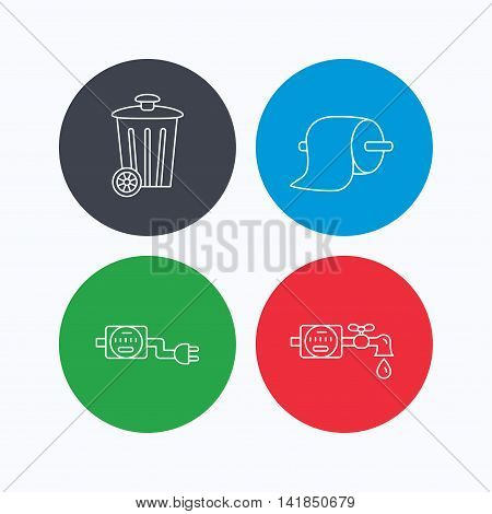 Trash bin, electricity and water counter icons. Toiler paper linear sign. Linear icons on colored buttons. Flat web symbols. Vector