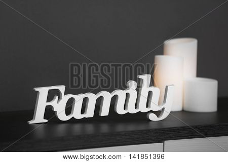 Word Family on grey wall background