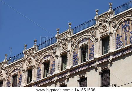 Facade of Gran Hotel building in Palma de Mallorca Spain