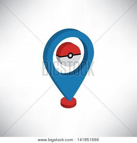 Location Pokemon Icon Isometric Vector EPS Version10
