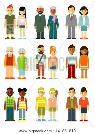 Different ethnic people smiling characters couple in flat style isolated on white background