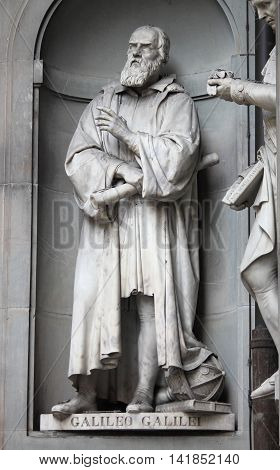 Statue of Galileo Galilei outside the Uffizi Museum in Florence Italy