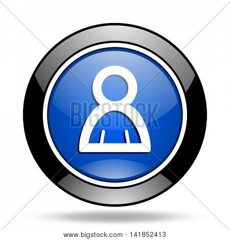 person blue glossy icon