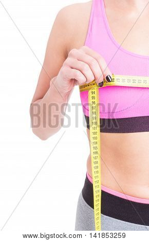 Side View Of Woman Measuring Her Bust Line