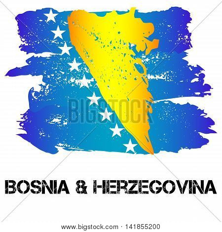 Flag of Bosnia and Herzegovina from brush strokes in grunge style isolated on white background. Country in Southern Europe. Vector illustration