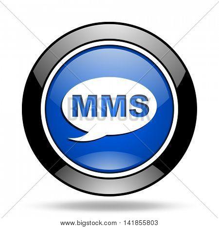 mms blue glossy icon
