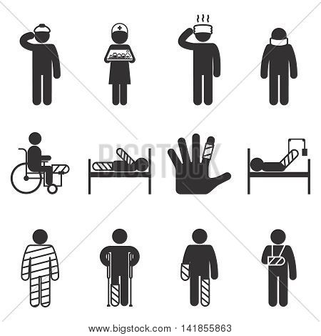 Injury icons. Trauma and sickness, broken and bruised icon set. Vector illustration