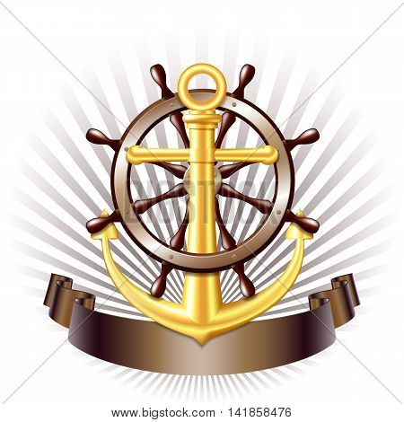 Nautical emblem with golden anchor, Steering wheel for ship and ribbon. Marine summer travel banner. Vector illustration