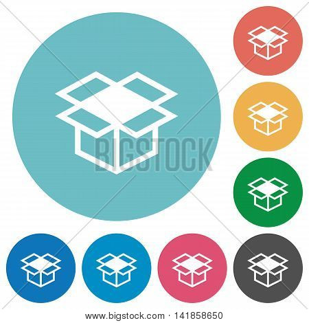 Flat open box icon set on round color background.