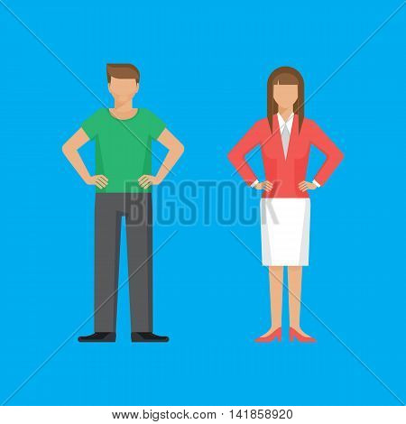 Man and woman are standing holding arms akimbo. Colorful vector flat illustration.