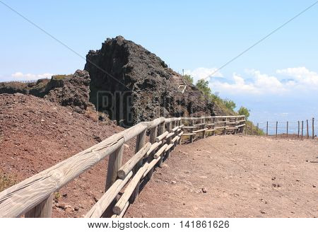 The road to the top of Mount Vesuvius, near the crater. Italy, Naples.