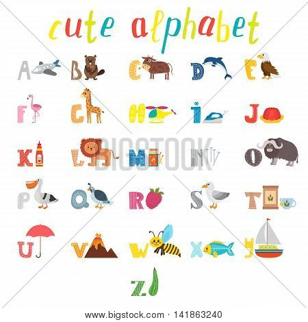 Abc. Children Alphabet With Cute Cartoon Animals And Other Funny Elements. Cartoon Vocabulary For Ed