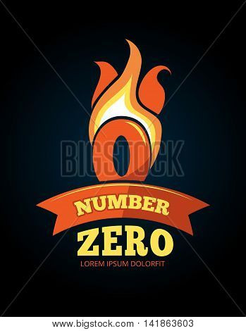 vector cartoon label of Flaming Number zero. Pictures isolate on dark background. Illustrations for your personal emblems or logo design