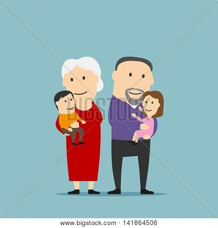 Blissful cartoon grandmother and grandfather stands with grandkids on hands. Happy smiling grandparents family with grandson and granddaughter. Use as family concept and weekend leisure theme design