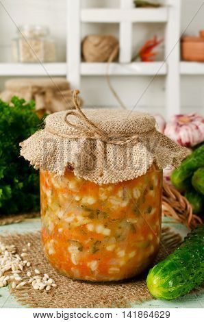 Soup in a jar. Russian cuisine: soup with pickled cucumbers and pearl barley