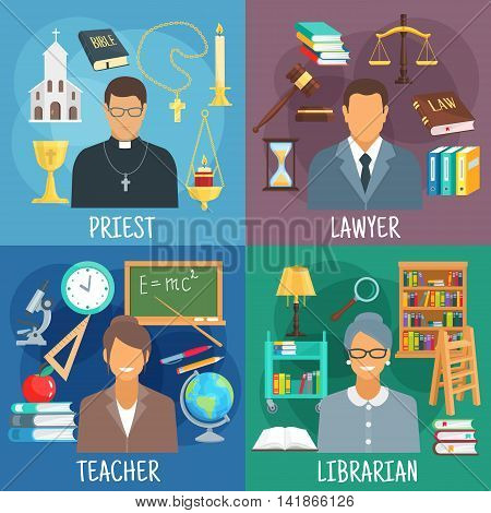 Teacher, lawyer, librarian and priest professions icons with classroom with school supplies, reading room with bookcases, church with bible and cross, courtroom with scales, law book and gavel