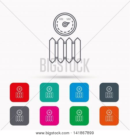 Radiator with regulator icon. Heater sign. Maximum temperature. Linear icons in squares on white background. Flat web symbols. Vector