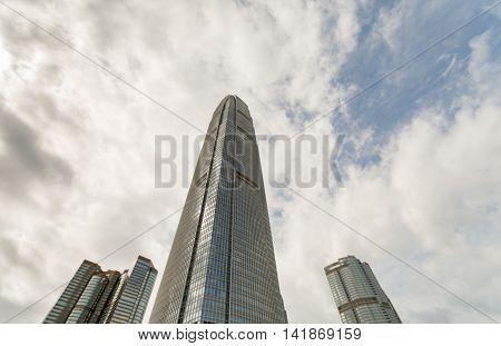 Modern skyscraper IFC 2 building Landscape in Hong Kong 2016
