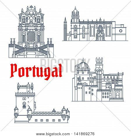 Portuguese architectural landmarks and tourist sights symbol with thin line Hieronymites Monastery and Tower of St Vincent, Pena Palace and Clerigos Church. Travel design