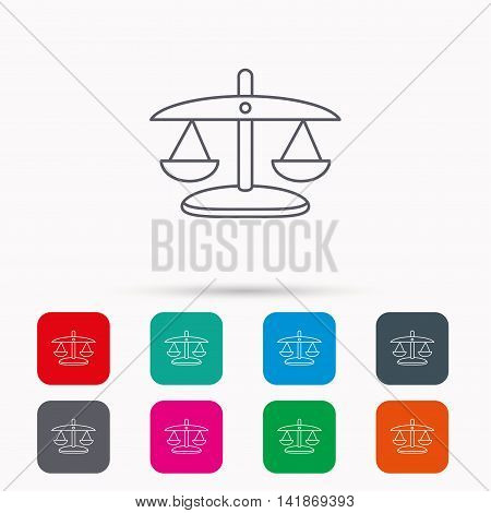 Scales of Justice icon. Law and judge sign. Measurement tool symbol. Linear icons in squares on white background. Flat web symbols. Vector