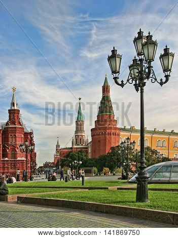 Moscow Russia - May 24 2015: The State Historical Museum of Russia. Located between Red Square and Manege Square in Moscow was founded in 1872.