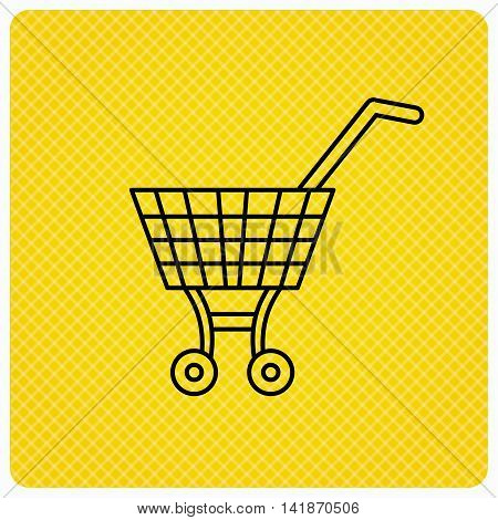 Shopping cart icon. Market buying sign. Linear icon on orange background. Vector