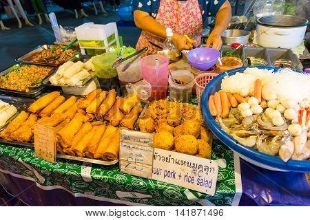 Koh Samui Thailand - July 4 2016. Fresh street food in Koh Samui Thailand
