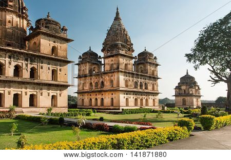 Old structures with stone domes in indian Orchha. Cenotaphs was built in 17th century for a long memory about kings of Orchha city.