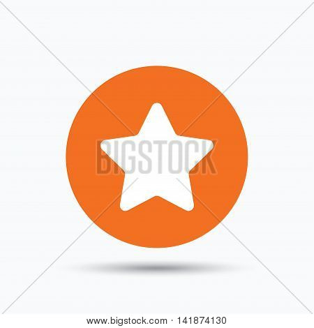 Star icon. Favorite or best sign. Web ranking symbol. Orange circle button with flat web icon. Vector