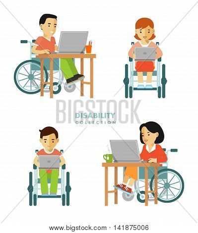 Young disabled man and woman in wheelchair work with computer isolated on white background