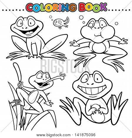 Vector Cartoon Animals Coloring Book - Frog