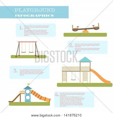 Playground infographic elements vector flat illustration.Kids playing equipment playground infographic set.Flat style cartoon vector illustration with isolated playground infographic objects.