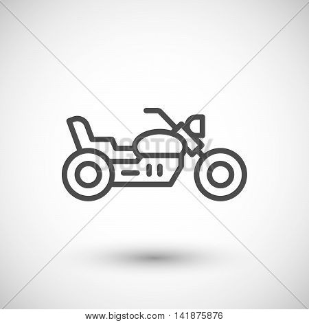 Chopper motorcycle line icon isolated on grey. Vector illustration