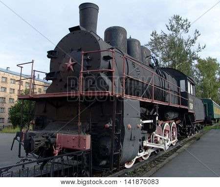 PETROZAVODSK, RUSSIA - SEPTEMBER 6, 2008: Steam locomotive monument Er 738-47. During World War II  drove train on way victory in besieged Leningrad. The monument was opened August 2, 1987.