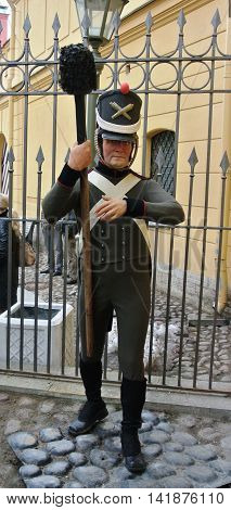 SAINT-PETERSBURG, RUSSIA - APRIL, 2013: Wax figure of guard at entrance to prison in Trubetskoy bastion Peter and Paul Fortress - tourist route