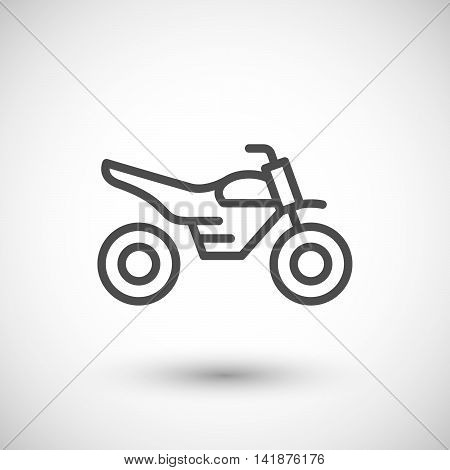 Motocross motorcycle line icon isolated on grey. Vector illustration