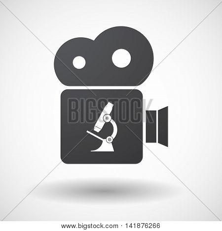 Isolated Retro Cinema Camera Icon With  A Microscope Icon
